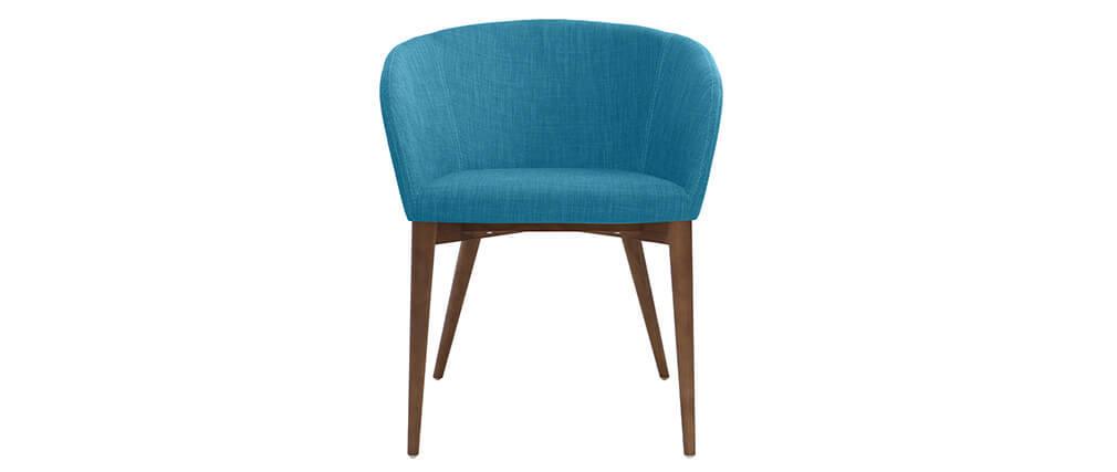 Coppia di 2 sedie design poliestere blu petrolio DALIA