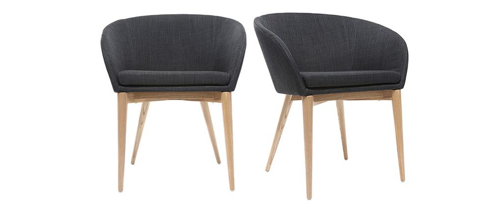 Coppia di 2 sedie design poliestere grigio antracite DALIA