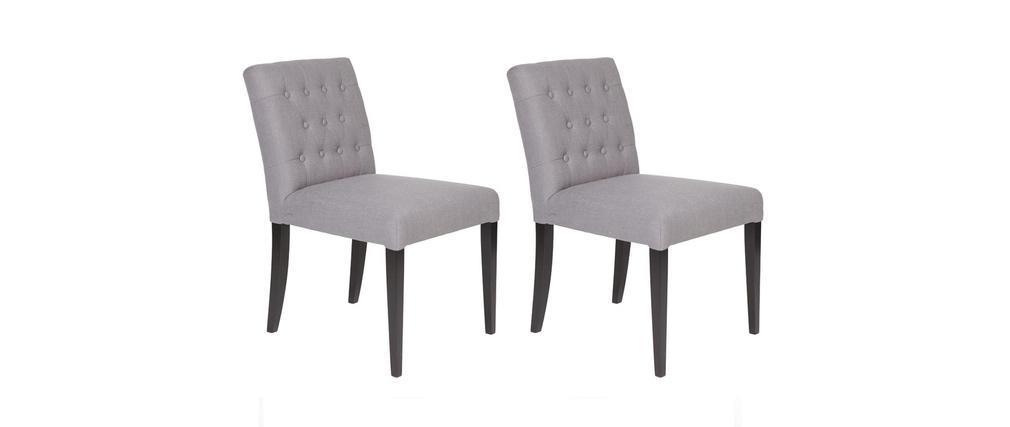 Coppia di 2 sedie in tessuto grigio e piedi scuri rita   miliboo