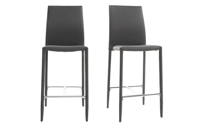 Coppia di sgabelli sedie da bar design grigio antracite talos