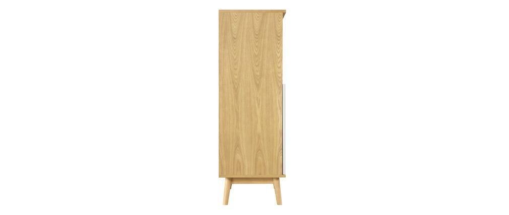 Credenza alta scandinava in legno chiaro e 2 ante bianche TALIA