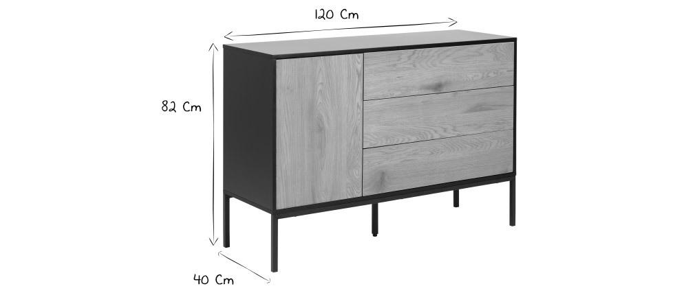 Credenza bassa industriale metallo e legno TRESCA