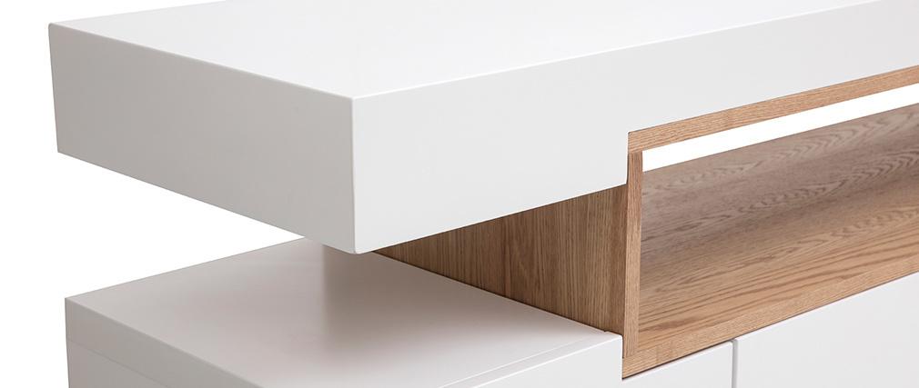 Credenza bianco opaco e nicchia in legno LIVO