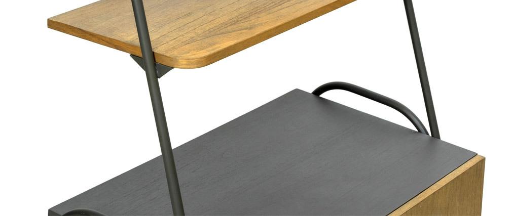 Credenza industriale con mensole legno e metallo grigio MODI