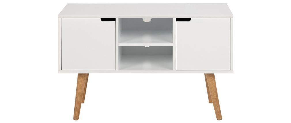 Credenza scandinava bianco opaco con nicchia centrale e spazi contenitori SNOOP