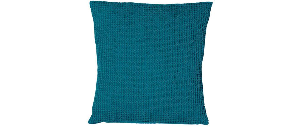 Cuscino in cotone lavato blu topazio 45 x 45 cm YAM