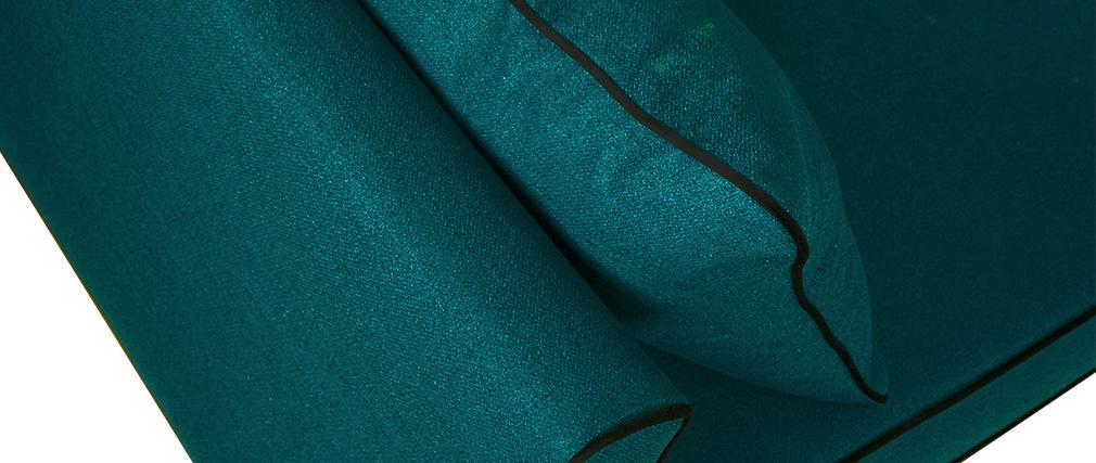 Divano 3 posti design blu pavone e velluto nero HARRISON