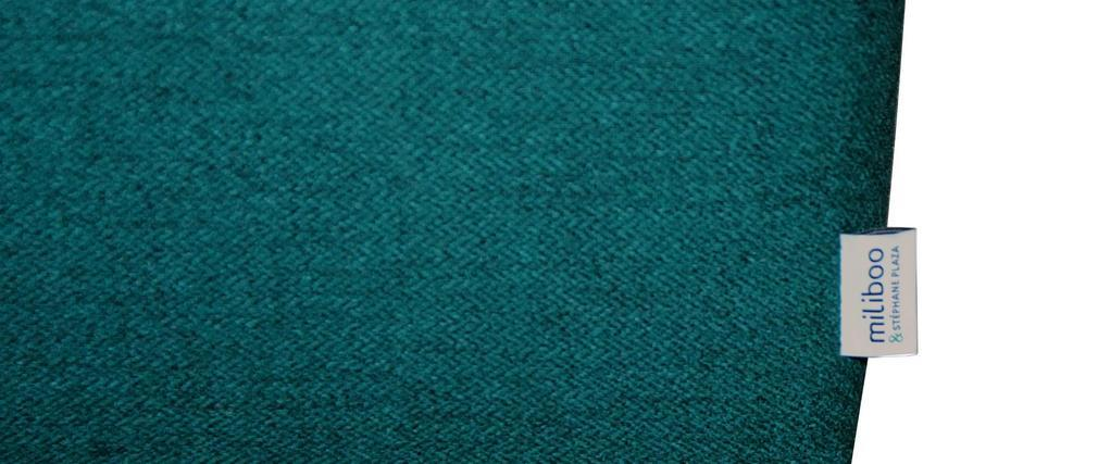 Divano 3 posti reversibile in tessuto stampa vegetale blu pavone HARRISON