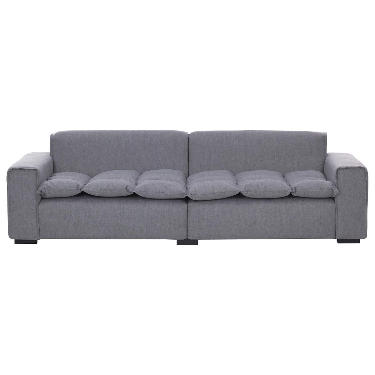 Divano 4 posti design in tessuto grigio chiaro MELLOW