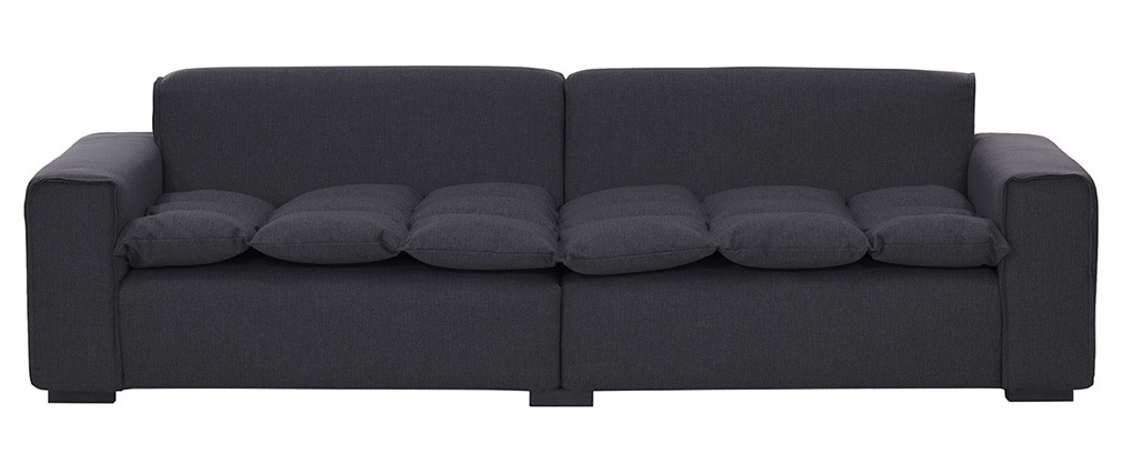 Divano 4 posti design in tessuto grigio scuro MELLOW