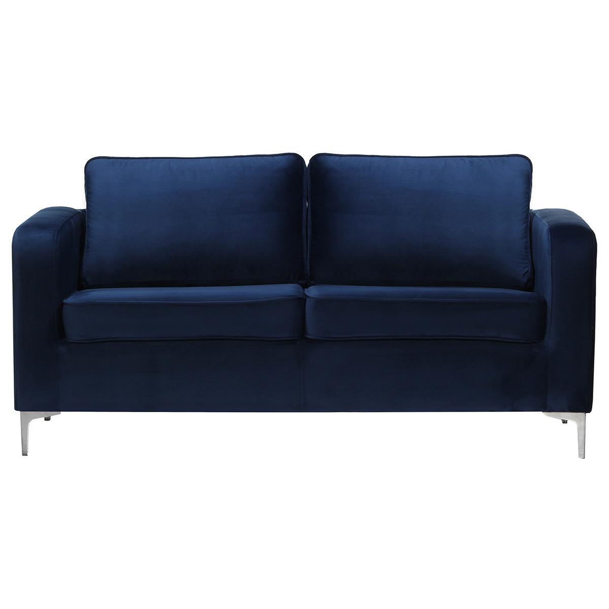 Divano a 3 posti design in velluto Blu scuro HARRY