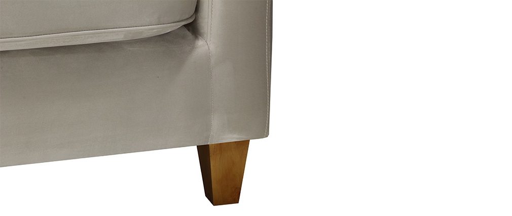 Divano a 3 posti design in velluto Grigio chiaro LYRIC