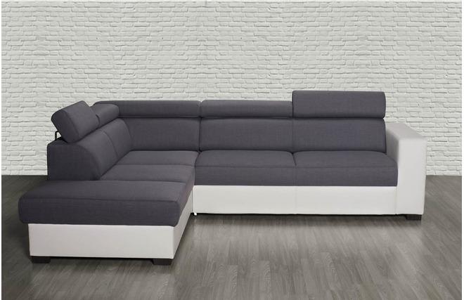 divano ad angolo convertibile grigio e bianco con