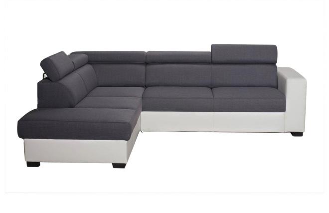 divano ad angolo convertibile grigio e bianco con poggiatesta ... - Reclinabile Divano Ad Angolo Chaise