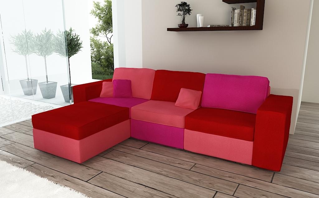Divano angolare 5 a 6 posti rosso rosa e corallo rainbow for Divano 6 posti angolare