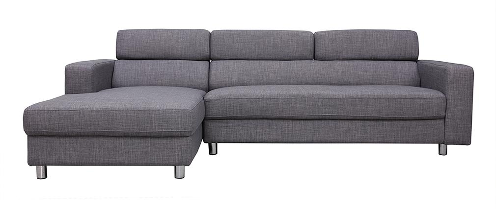 Divano angolare design grigio (angolo sinistro) PORTLAND