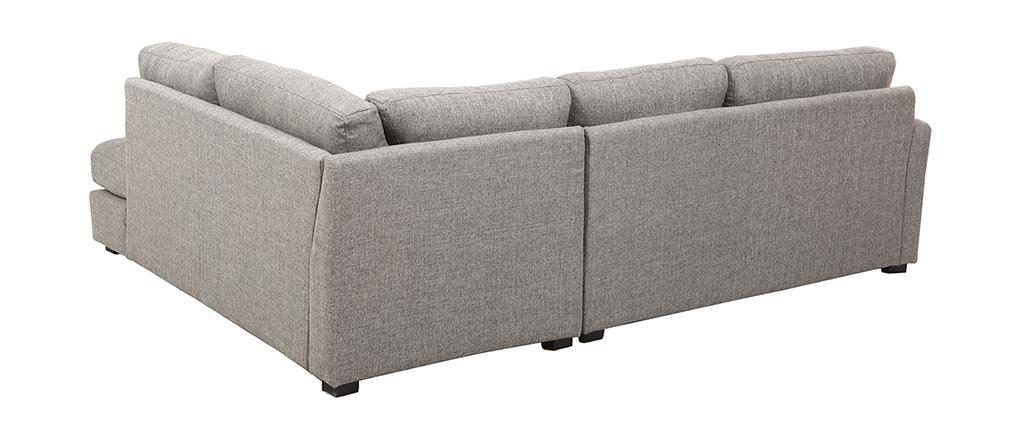 Divano angolare destro design 5 posti tessuto grigio MILORD