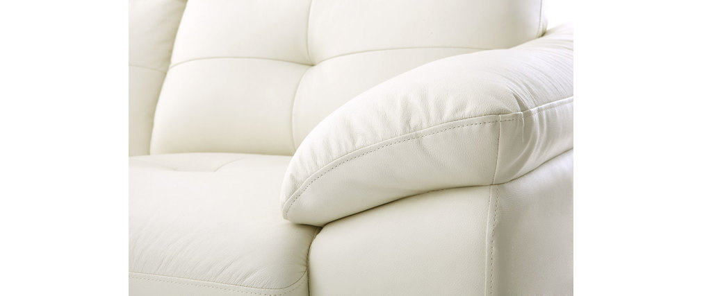 Divano angolare in pelle design bianco MOUNTAIN - Miliboo