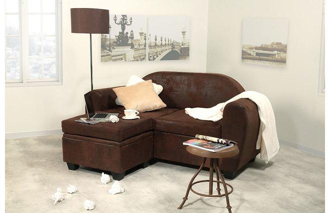 Divano angolare reversibile design modello piccolo effetto pelle invecchiata paulo miliboo - Piccolo divano angolare ...