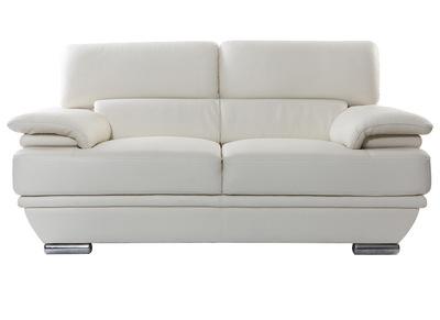 Divano bianco in pelle design 2 posti con poggiatesta reclinabile EWING