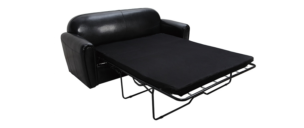 Divano Club convertibile in pelle nero 3 posti - pelle bovina