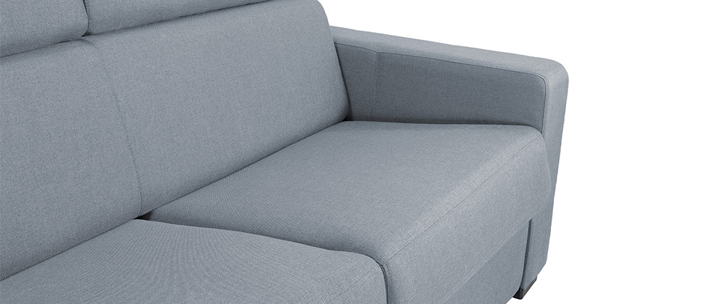 Divano convertibile 3 posti con testiera regolabile grigio chiaro NORO