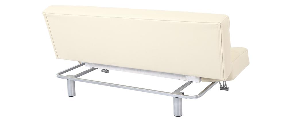 Divano convertibile 3 posti MANHATTAN beige - pelle