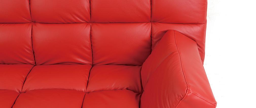 Divano convertibile 3 posti MANHATTAN rosso - pelle