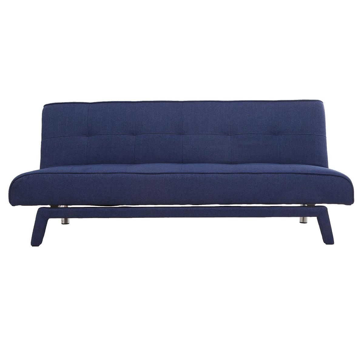 Divano convertibile design 3 posti tessuto blu scuro BUCK