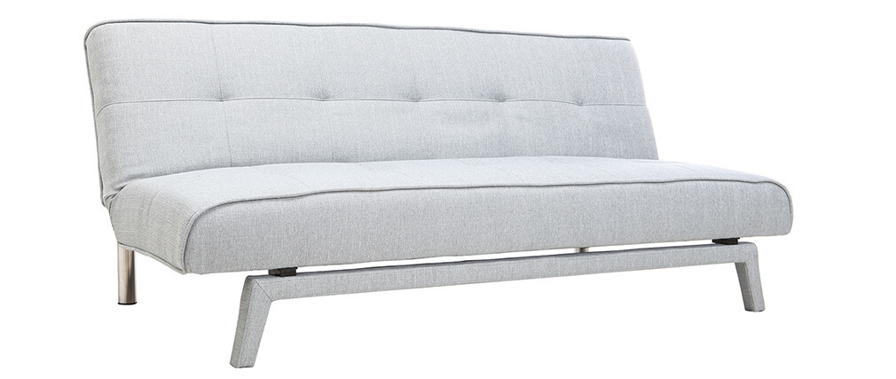 Divano convertibile design 3 posti tessuto grigio chiaro BUCK