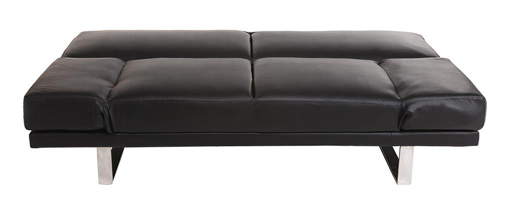 Divano convertibile design PU nero ATLANTA