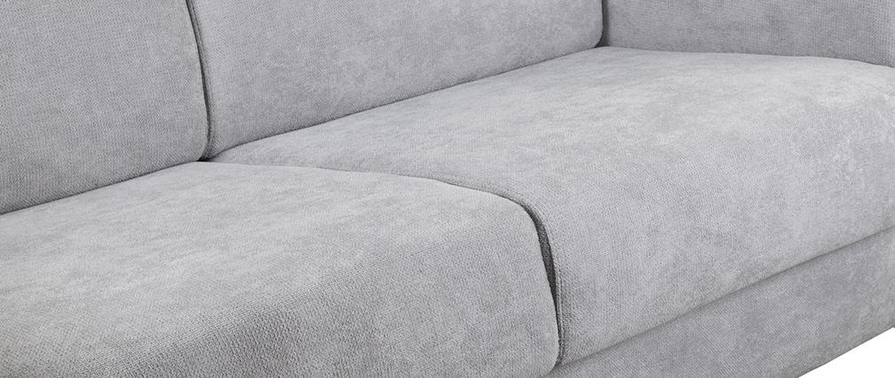 Divano convertibile scandinavo 3 posti effetto velluto grigio SVEN