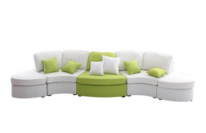 Divano curvo 5 6 posti bianco e verde anice up to you miliboo - Divano curvo design ...