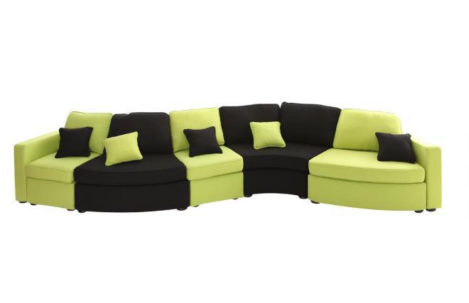 Divano curvo componibile 6 posti nero e colore anice up to you miliboo - Divano curvo design ...