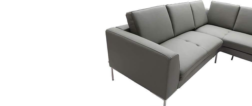 Divano dangolo in pelle grigio design 5 posti (angolo ...