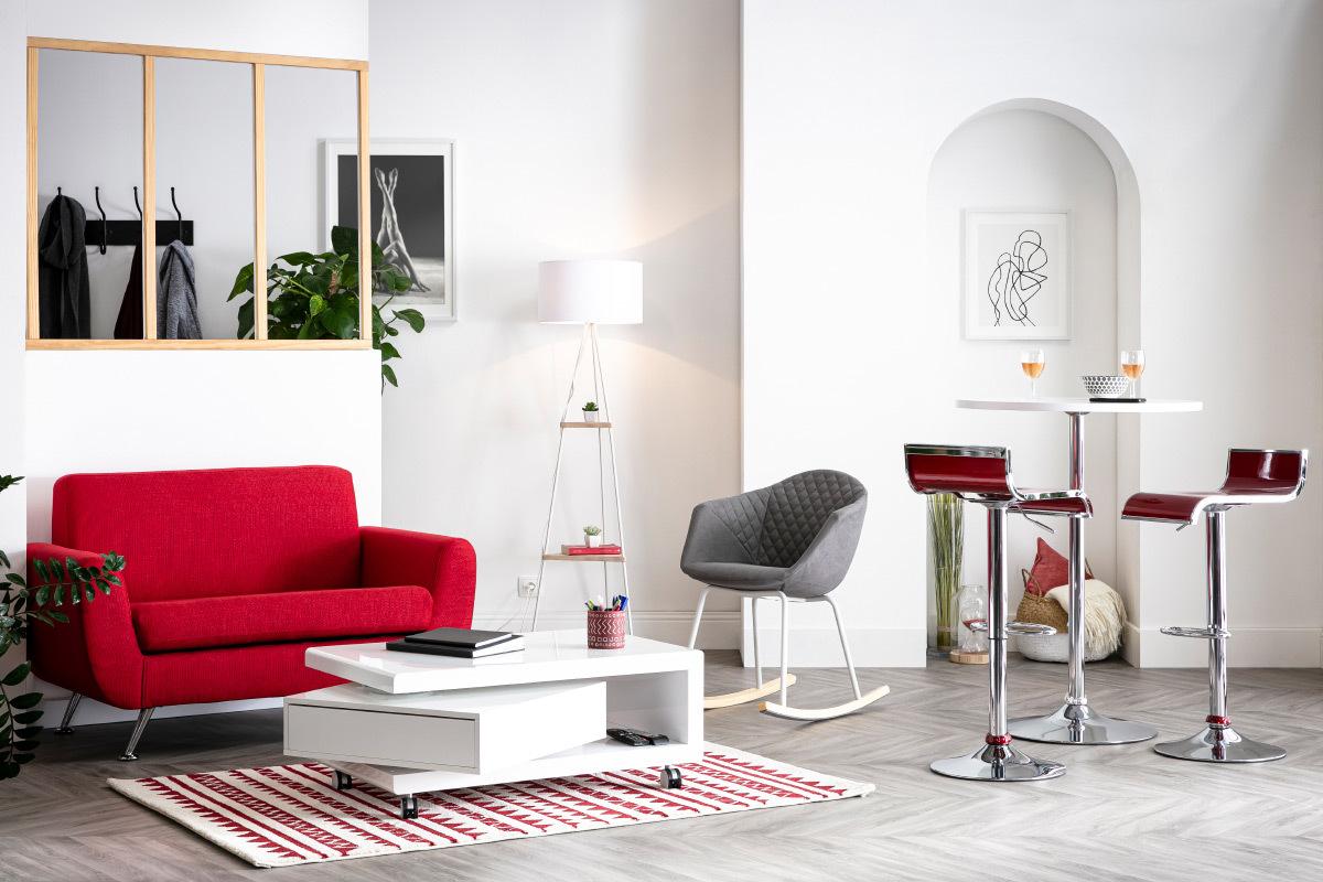 Divano Rosso E Grigio divano design 2 posti rosso pure - miliboo