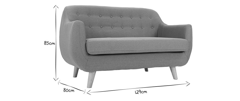 Divano design 2 posti sfoderabile in tessuto grigio YNOK