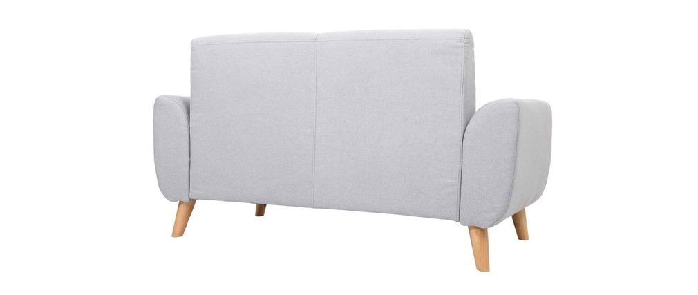 Divano design 2 posti tessuto grigio chiaro piedi in quercia EKTOR