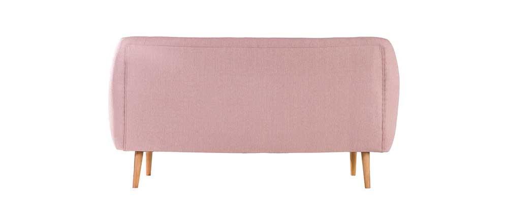 Divano design 3 posti faggio e tessuto rosa antico OLAF