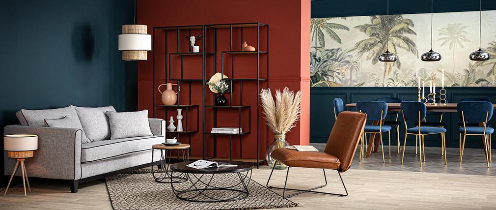 Divano design 3 posti grigio e velluto nero HARRISON