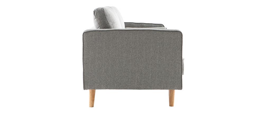 Divano design 3 posti in tessuto grigio chiaro e piedi in legno IMPERIAL