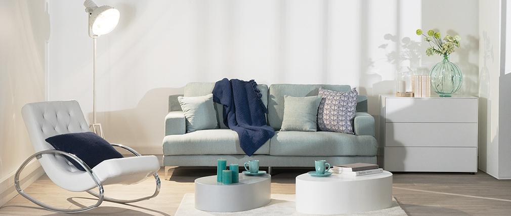 Divano design 3 posti tessuto blu chiaro BOMEN