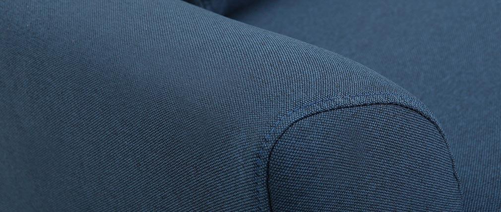 Divano design 3 posti tessuto blu piedi in quercia EKTOR