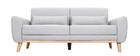 Divano design 3 posti tessuto grigio chiaro piedi in quercia EKTOR