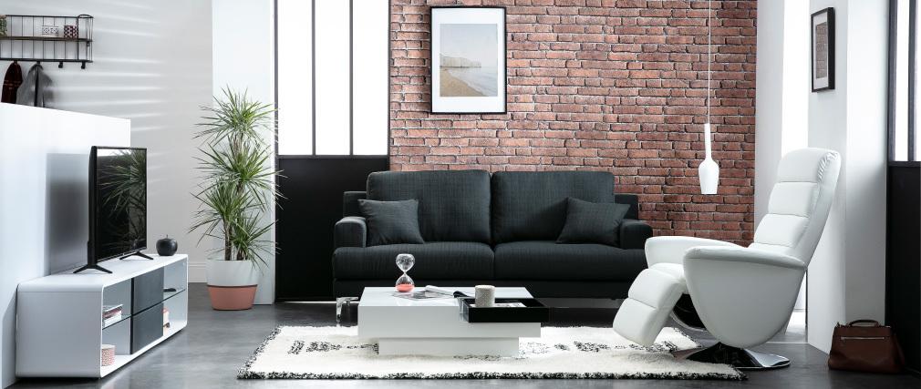 Divano design 3 posti tessuto grigio scuro BOMEN