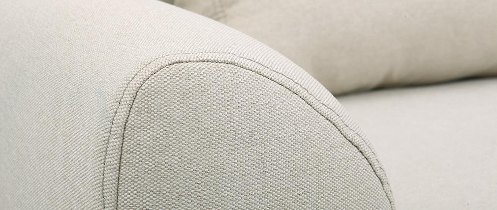 Divano design 3 posti tessuto naturale piedi in quercia EKTOR