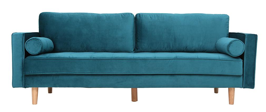 Divano design a 3-4 posti in velluto blu anatra IMPERIAL