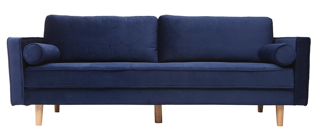 Divano design a 3-4 posti in velluto blu notte IMPERIAL