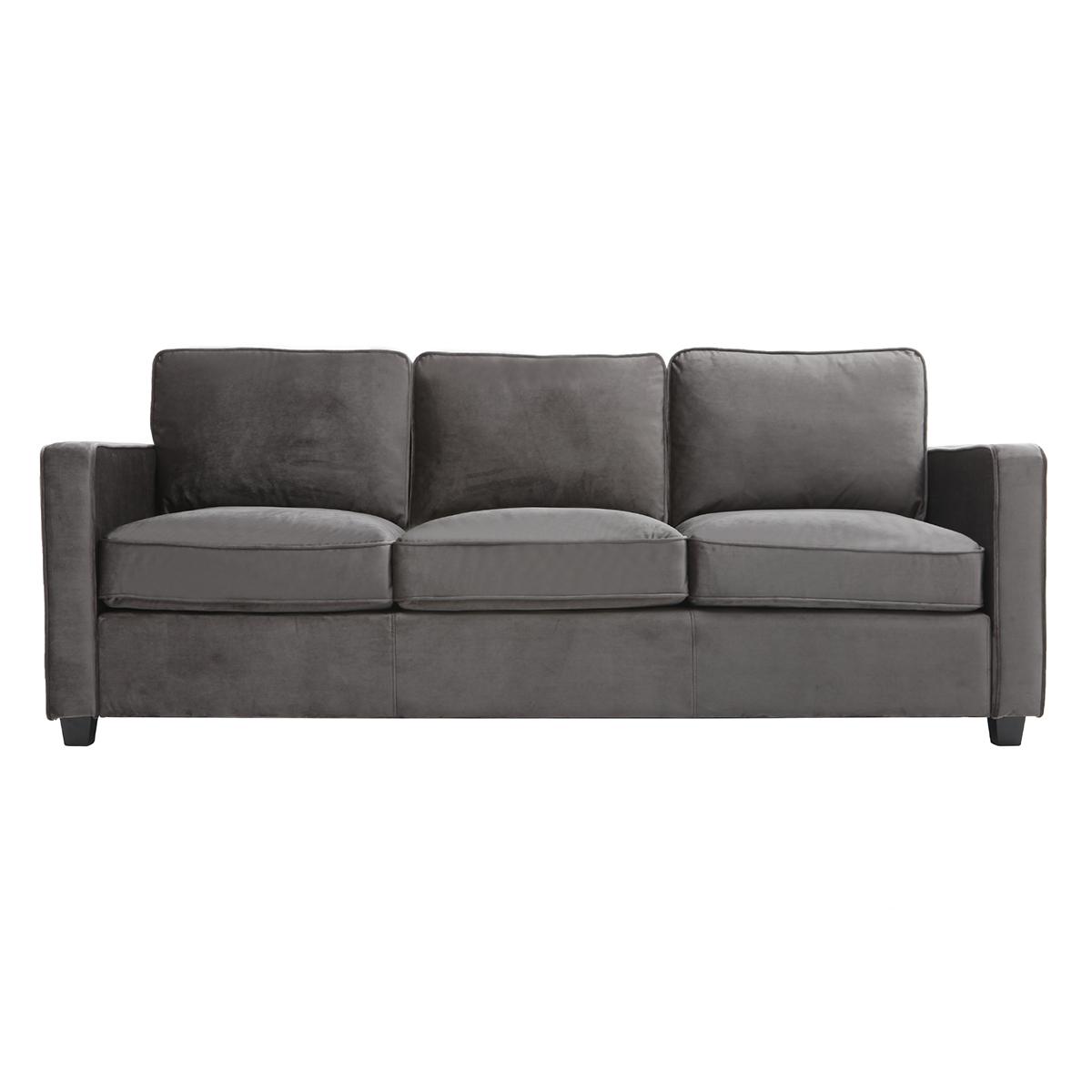 Divano design a 3 posti velluto grigio scuro BROOKLYN