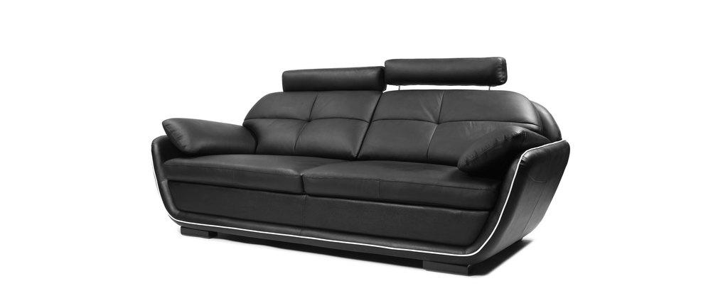 Divano design in pelle 3 posti nebraska nero miliboo - Divano in pelle nero ...